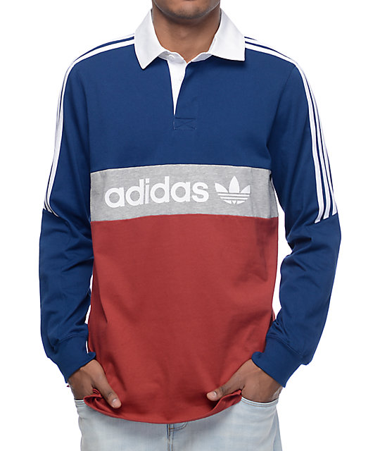 c9d85e28 adidas Rugby Nautical Navy & Red Long Sleeve Knit Shirt | Zumiez