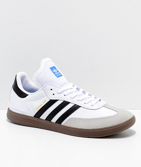 adidas samba adv white black gum shoes zumiez. Black Bedroom Furniture Sets. Home Design Ideas