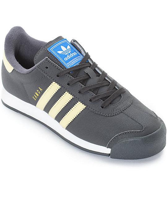 online retailer ac863 fafc2 adidas Samoa Dark Grey, Yellow   White Shoes   Zumiez