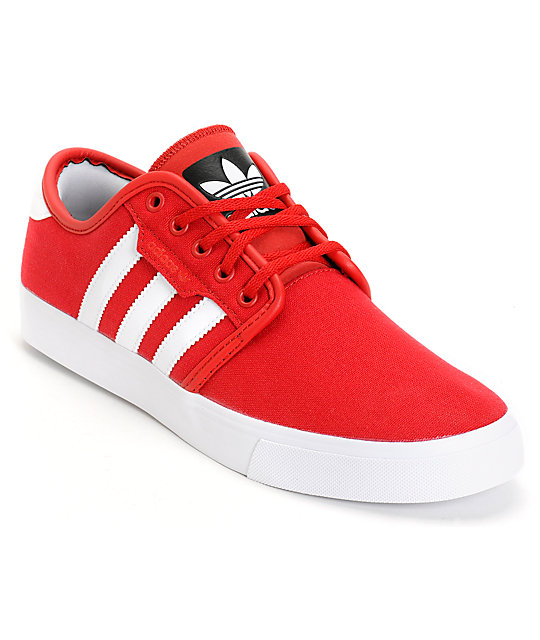adidas Seeley Red Canvas Shoes  199b25745