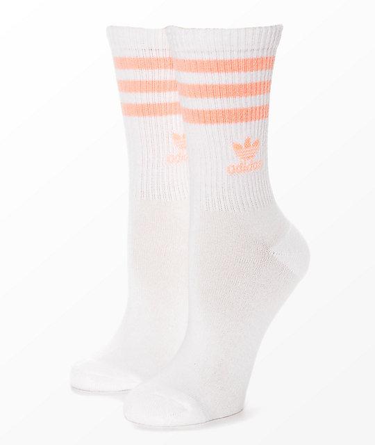 adidas Single White Haze & Coral Crew Socks