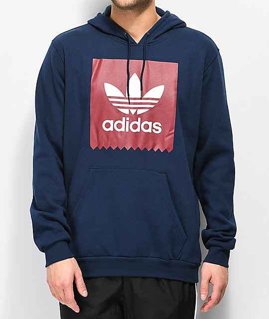 adidas Solid Blackbird Navy, Burgundy & White Hoodie