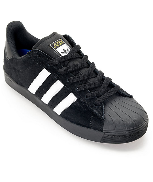 best website bd94c 83561 adidas Superstar Vulc ADV Black Suede & White Shoes