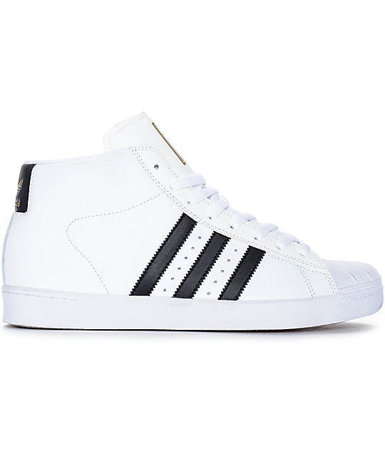 ... adidas Superstar Vulc Mid White & Black Shoes