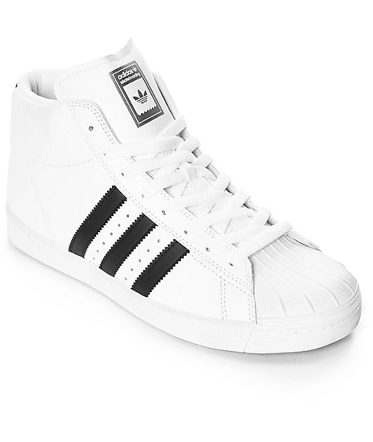 adidas Superstar Vulc Mid White & Black Shoes ...