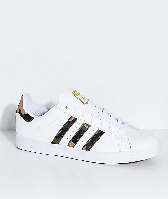 low priced 568fd cd728 adidas Superstar Vulc White   Camo Shoes   Zumiez