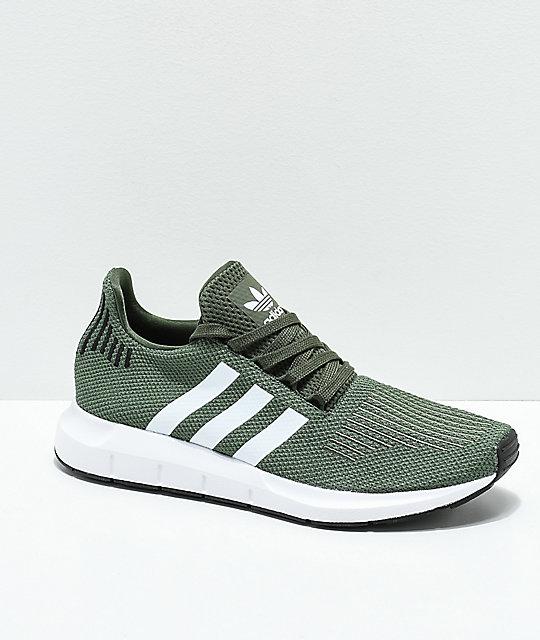 Adidas Swift Dark Green, White & Black Shoes
