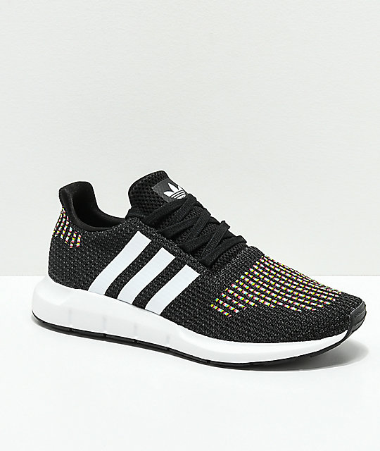 adidas Swift Run Black, White & Multicolored Shoes