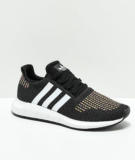 adidas Swift Run Black, White & Multicolored Shoes
