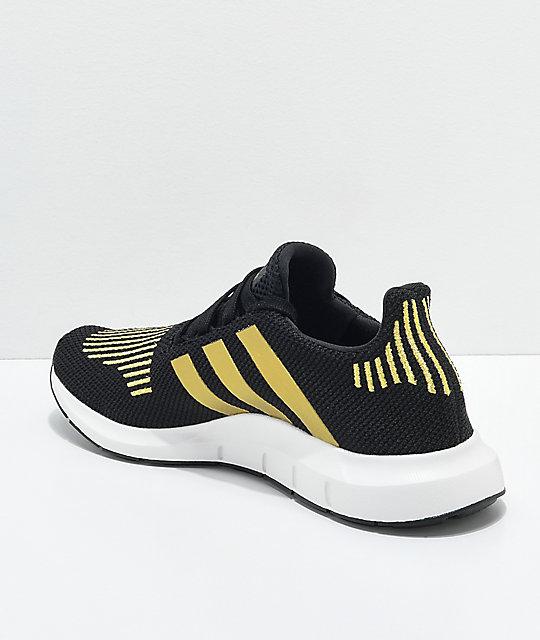aba216ec4fb8d ... adidas Swift Run Black   Gold Shoes ...