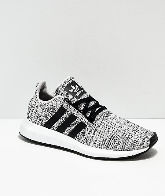 b7e1e2f49a532e adidas Swift Run Heather Black   White Shoes