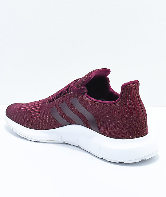 Maroon And White Track Shoes