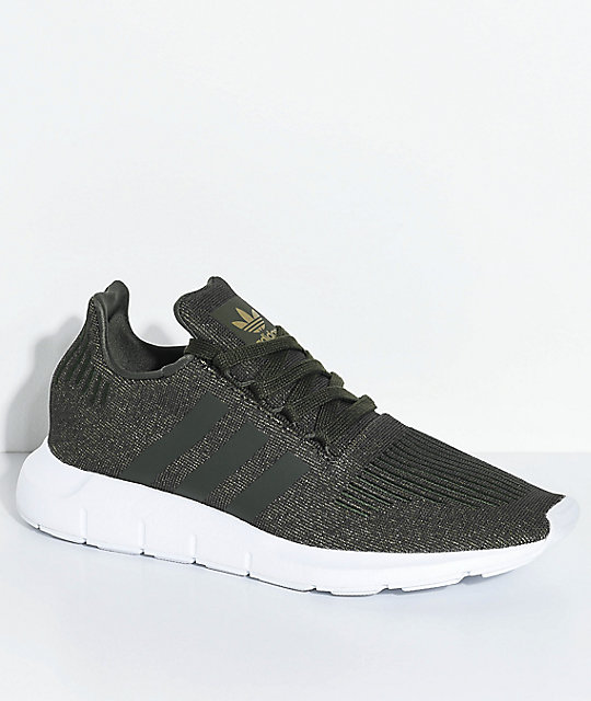 adidas Swift Run Night Cargo Green & White Shoes ...