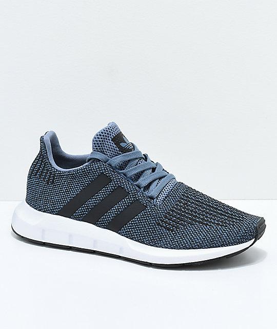 adidas Swift Run Raw Speckled Steel zapatos en gris y blanco