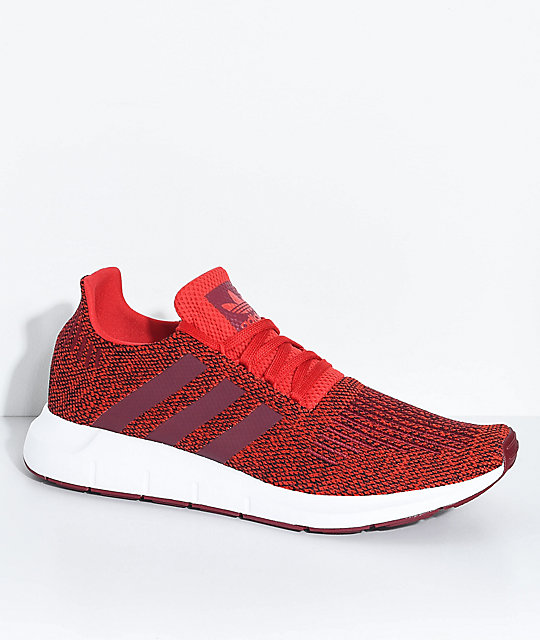 adidas Swift Run Red, Burgundy & White Shoes