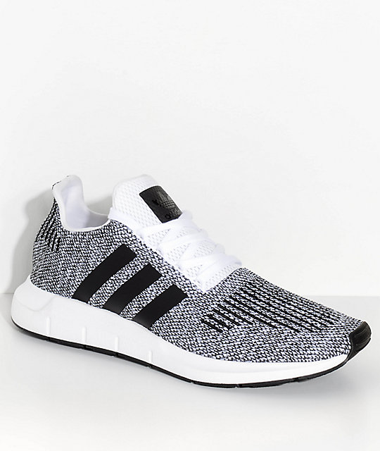 adidas Swift Run White, Black & Heather Grey Shoes ...
