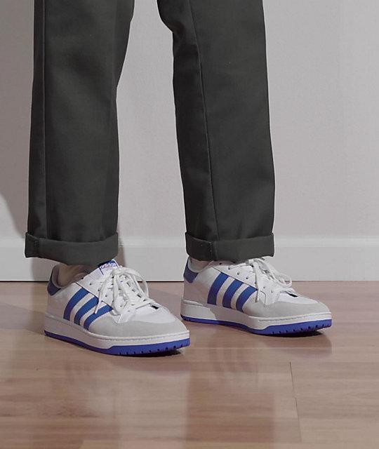 adidas Team Court White & Blue Shoes