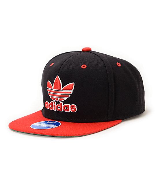 adidas Thrasher Black & Red Snapback Hat ...