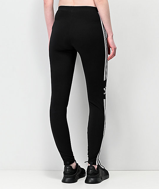 adidas Trefoil 3 Stripe Black Leggings