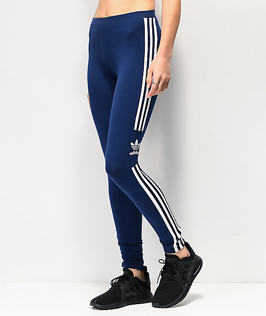 c1725f9db7e76 adidas Trefoil 3-Stripe Dark Blue Leggings | Zumiez