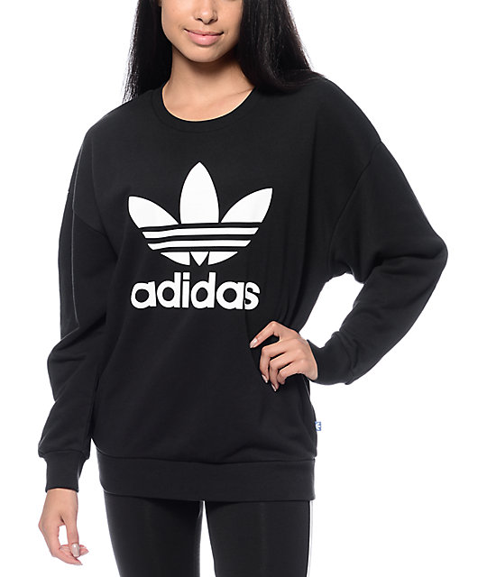 adidas Trefoil Black Crew Neck Sweatshirt