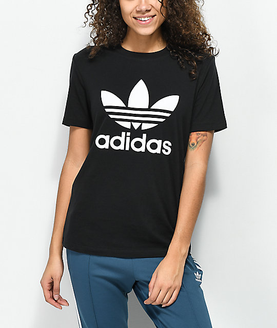 adidas Trefoil Boyfriend Fit Black T-Shirt | Zumiez