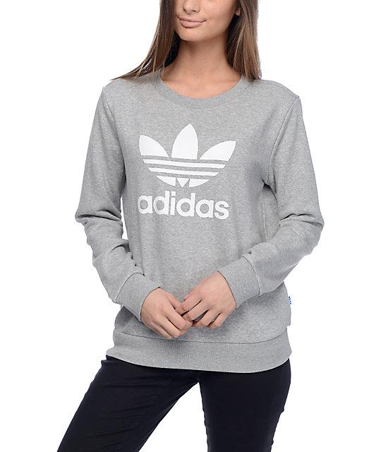b49bc21139 adidas Trefoil Heather Grey Crew Sweatshirt