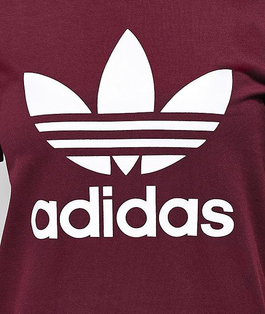 Adidas Trefoil Logo Burgundy T Shirt Zumiez