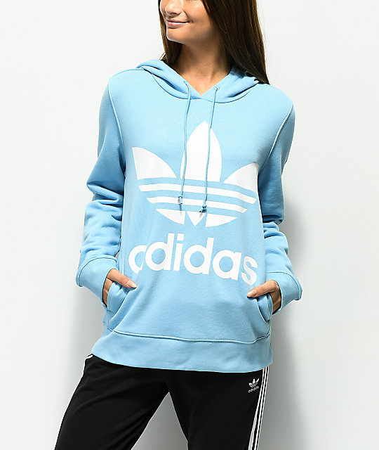 adidas Trefoil Logo sudadera con capucha azul claro