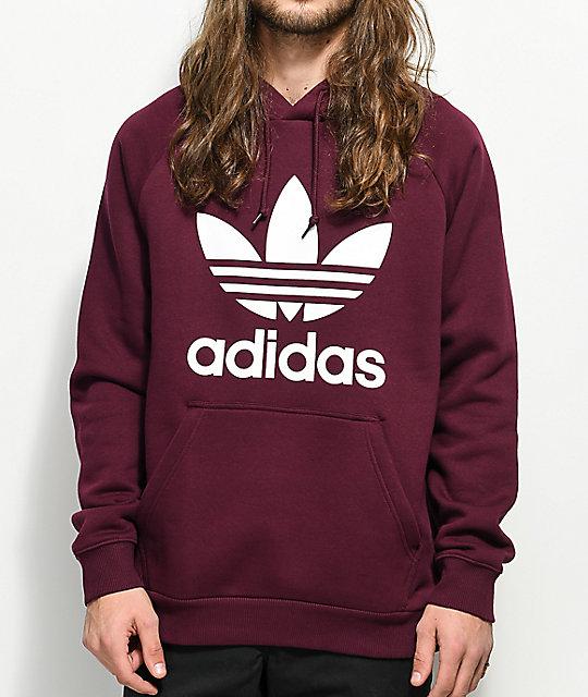 Adidas Trefoil Maroon Hoodie | Zumiez