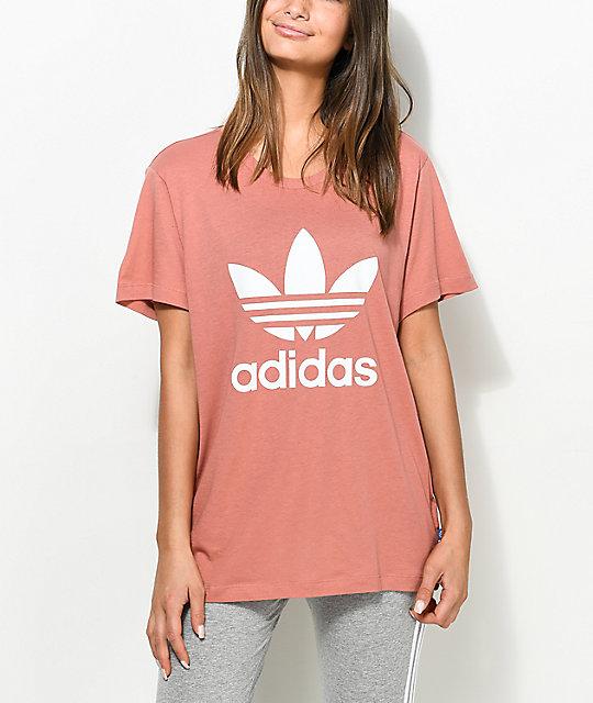 dd563e85 adidas Trefoil Mauve Boyfriend T-Shirt   Zumiez