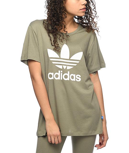 khaki adidas t shirt women's