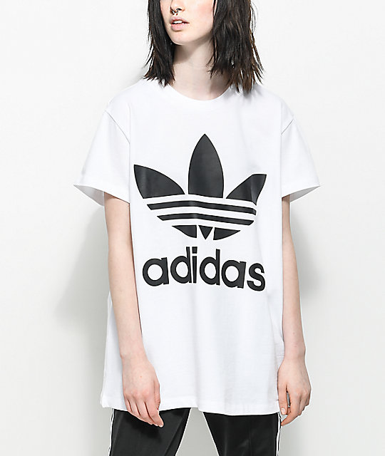 adidas Trefoil White & Black Oversized T-Shirt