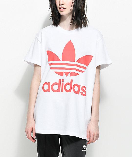 ea498f1ce360ea adidas Trefoil White   Hot Pink Oversized T-Shirt