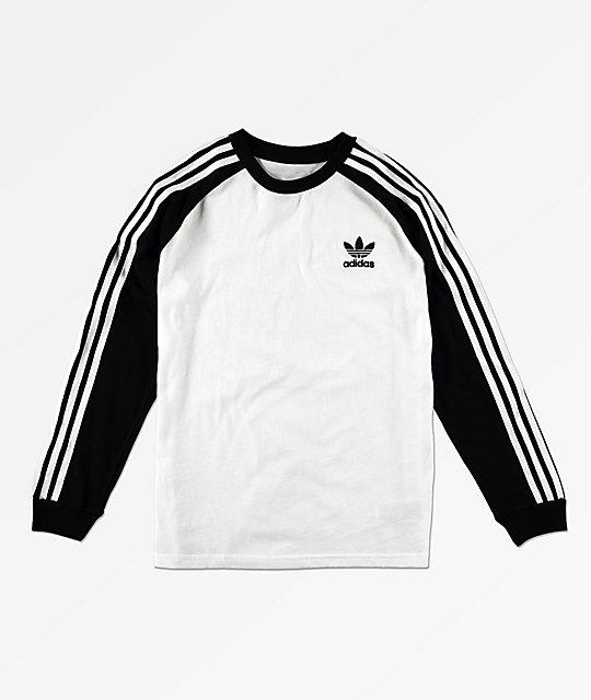 13f64a6b51 adidas Trefoil camiseta de manga larga blanca y negra para niños ...