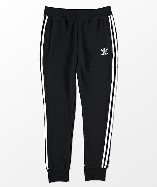 adidas Trefoil pantalones deportivos negros y blancos para niños