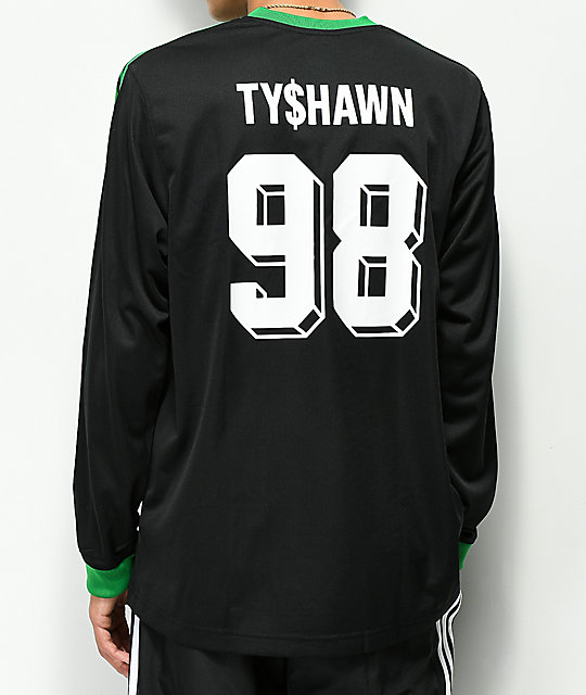 adidas Tyshawn Green & Black Long Sleeve Jersey