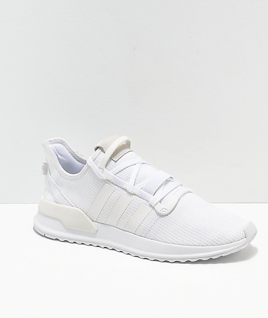 half off 49b99 c07ac adidas U Path Run All White Shoes   Zumiez