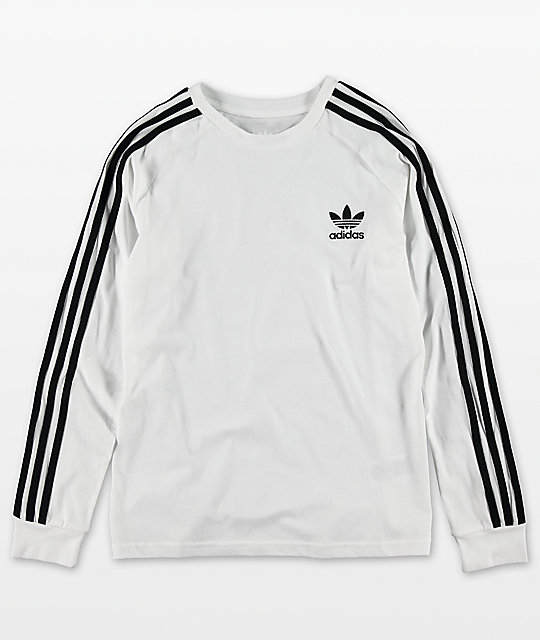 adidas Youth Trefoil White Long Sleeve T-Shirt