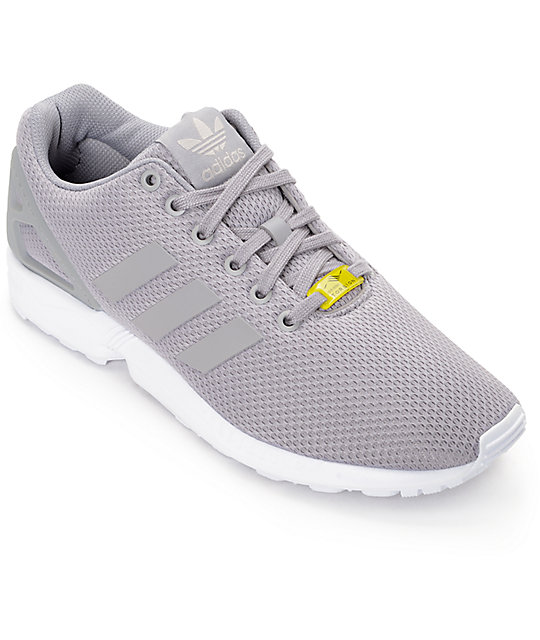 adidas ZX Flux Granite Grey   White Shoes  6a624a965