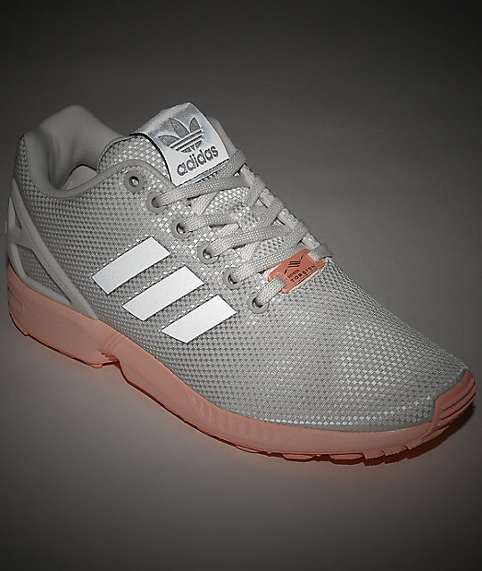 brand new a473e 57a15 adidas ZX Flux White & Pink Shoes