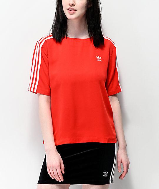 adidas camiseta roja de 3 rayas