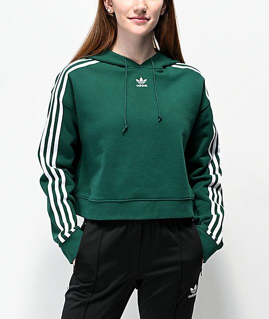 adidas sudadera corta con capucha verde de 3 rayas