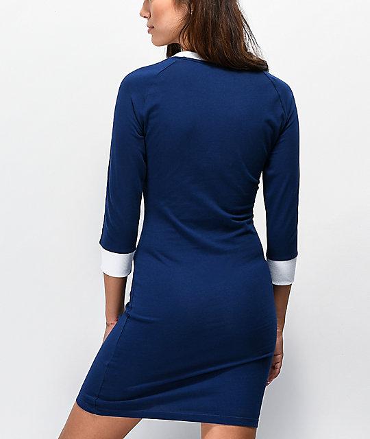 Adidas Vestido Azul Oscuro De 3 Rayas