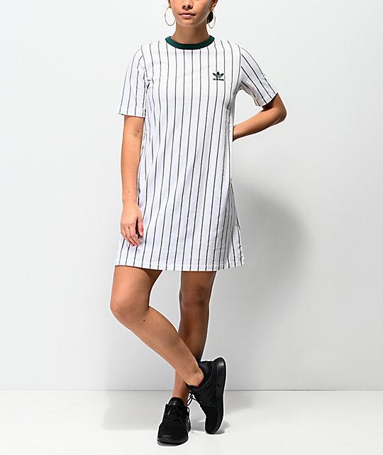 fca157b00a26 adidas vestido de camiseta blanca de rayas