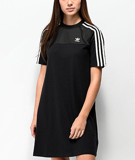 adidas vestido de camiseta de malla negra