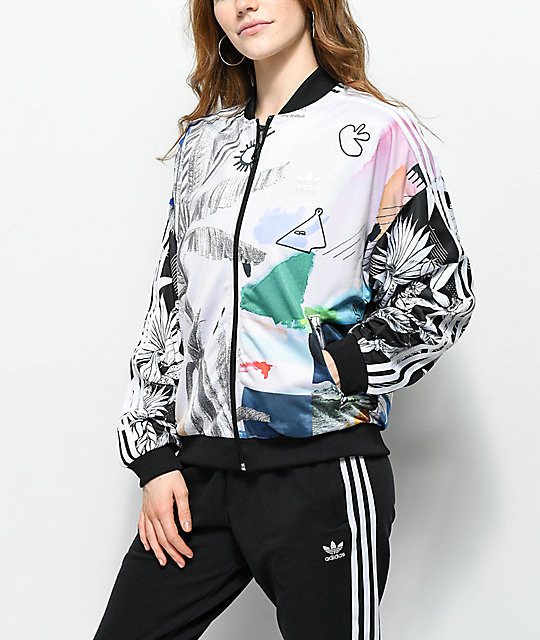 cheapest fast delivery new style adidas x Farm Abstract Floral Track Jacket