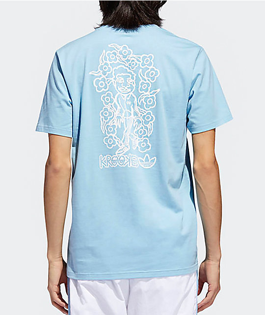 adidas x Krooked Clear Blue & White T-Shirt ...