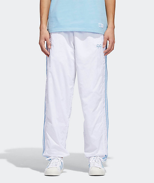 0cc97a07986 adidas x Krooked White   Clear Blue Track Pants