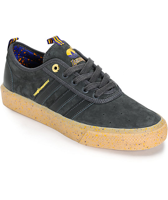 online retailer 57e6b 0d684 adidas x The Hundreds Adi Ease Lakers Shoes  Zumiez